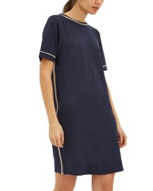 Jaeger Linen Contrast Trim Dress