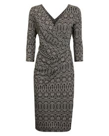 Jaeger Aztec Print Wrap Dress