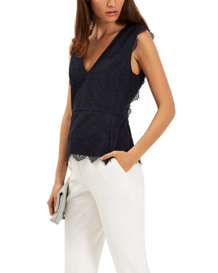 Jaeger Scalloped Lace Top