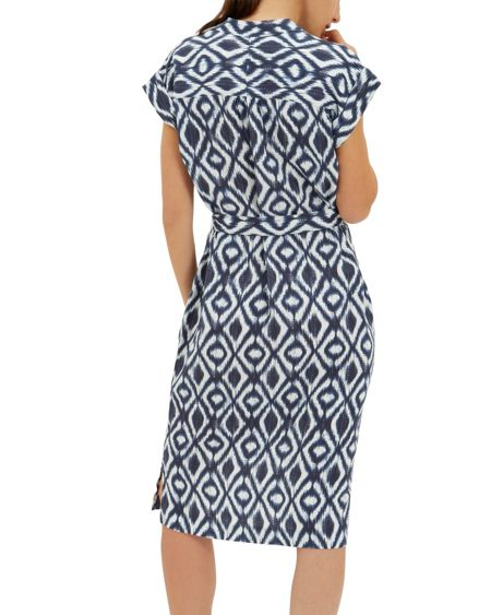 Jaeger Linen Diamond Ikat Shirt Dress