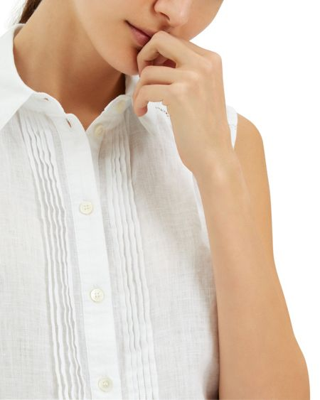 Jaeger Linen Pin Tuck Detail Blouse
