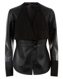 Jaeger Leather Suede Panel Jacket