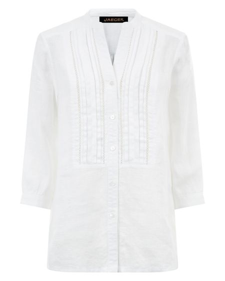 Jaeger Linen Classic Pleat Blouse