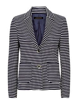 Ponte Jersey Striped Blazer