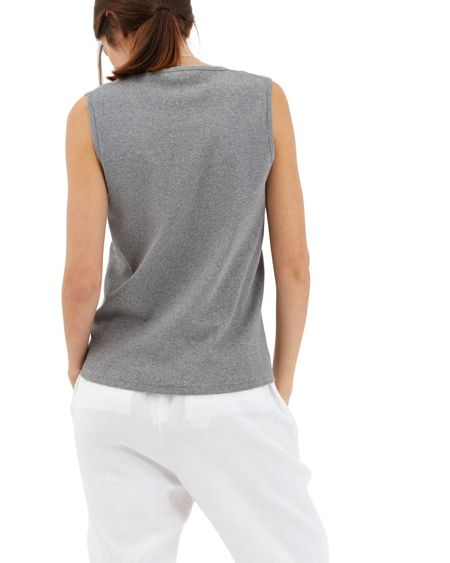 Jaeger Cotton Ribbed Panel Tank Top