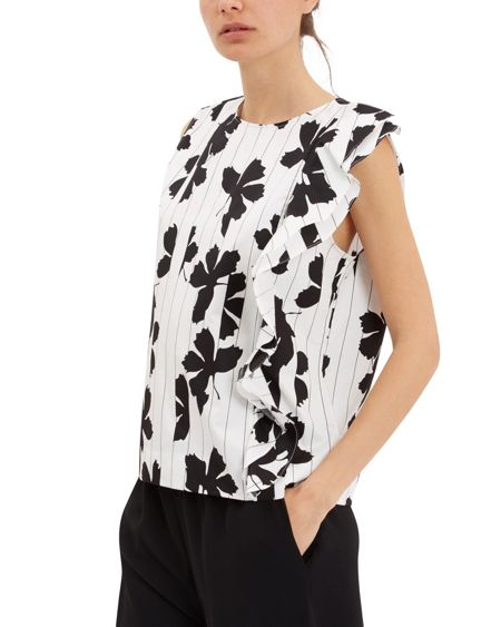 Jaeger Ruffle Detail Floral Print Top