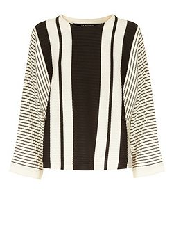 Wool Striped Cropped Sweater