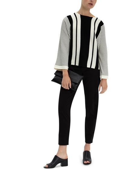 Jaeger Wool Striped Cropped Sweater