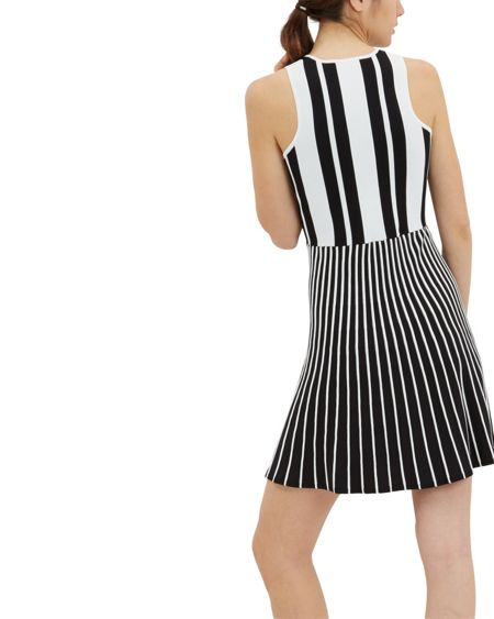 Jaeger Striped Compact Knitted Dress