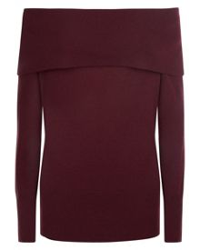Jaeger Cashmere Off-Shoulder Sweater