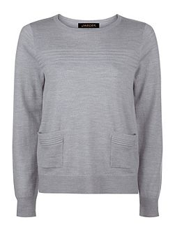 Wool Ribbed Detail Sweater