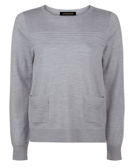Jaeger Wool Ribbed Detail Sweater