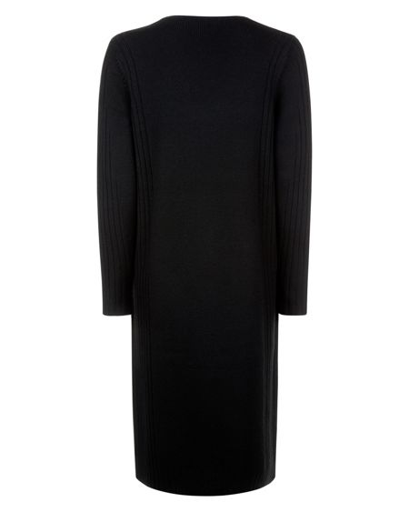Jaeger Wool Ribbed Panel Dress