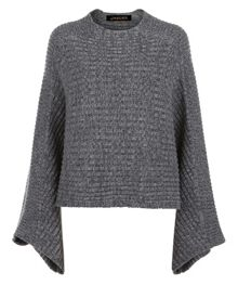 Jaeger Marl Grey Cropped Cape Sweater