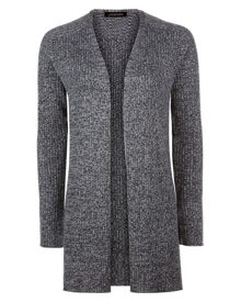 Jaeger Wool Ribbed Split Hem Cardigan