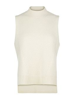 Textured Wool Stepped Hem Top