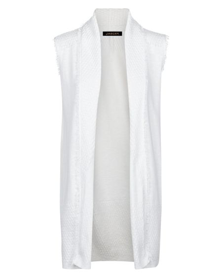 Jaeger Cotton Linen Fringed Gilet