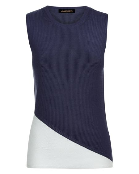 Jaeger Cotton Colour Block Ribbed Top
