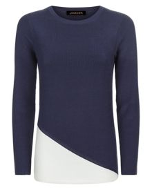 Jaeger Colour Block Ribbed Sweater