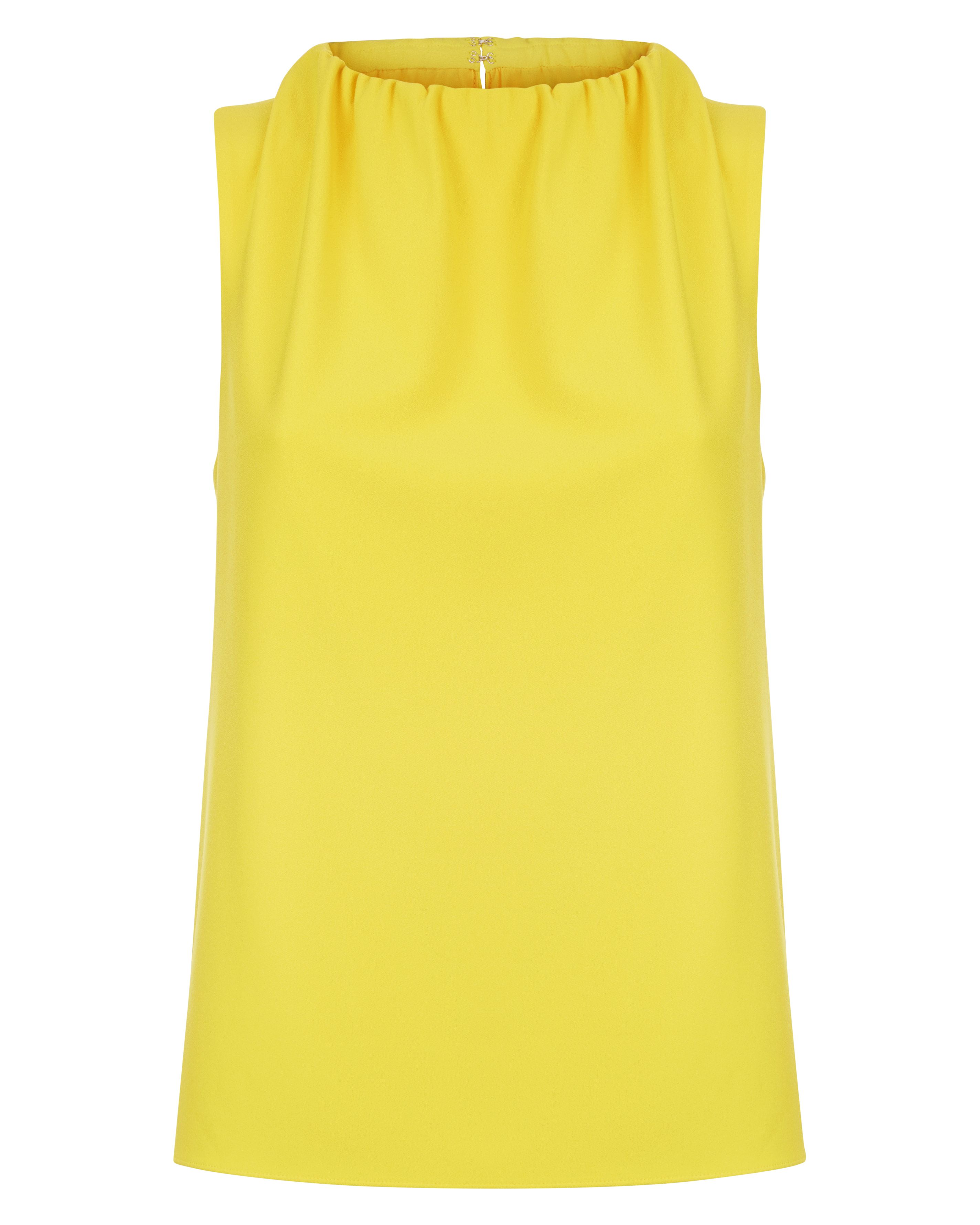 Jaeger Ruched Neck Sleeveless Top, Yellow