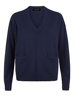 Cashmere V-Neck Pocket Sweater