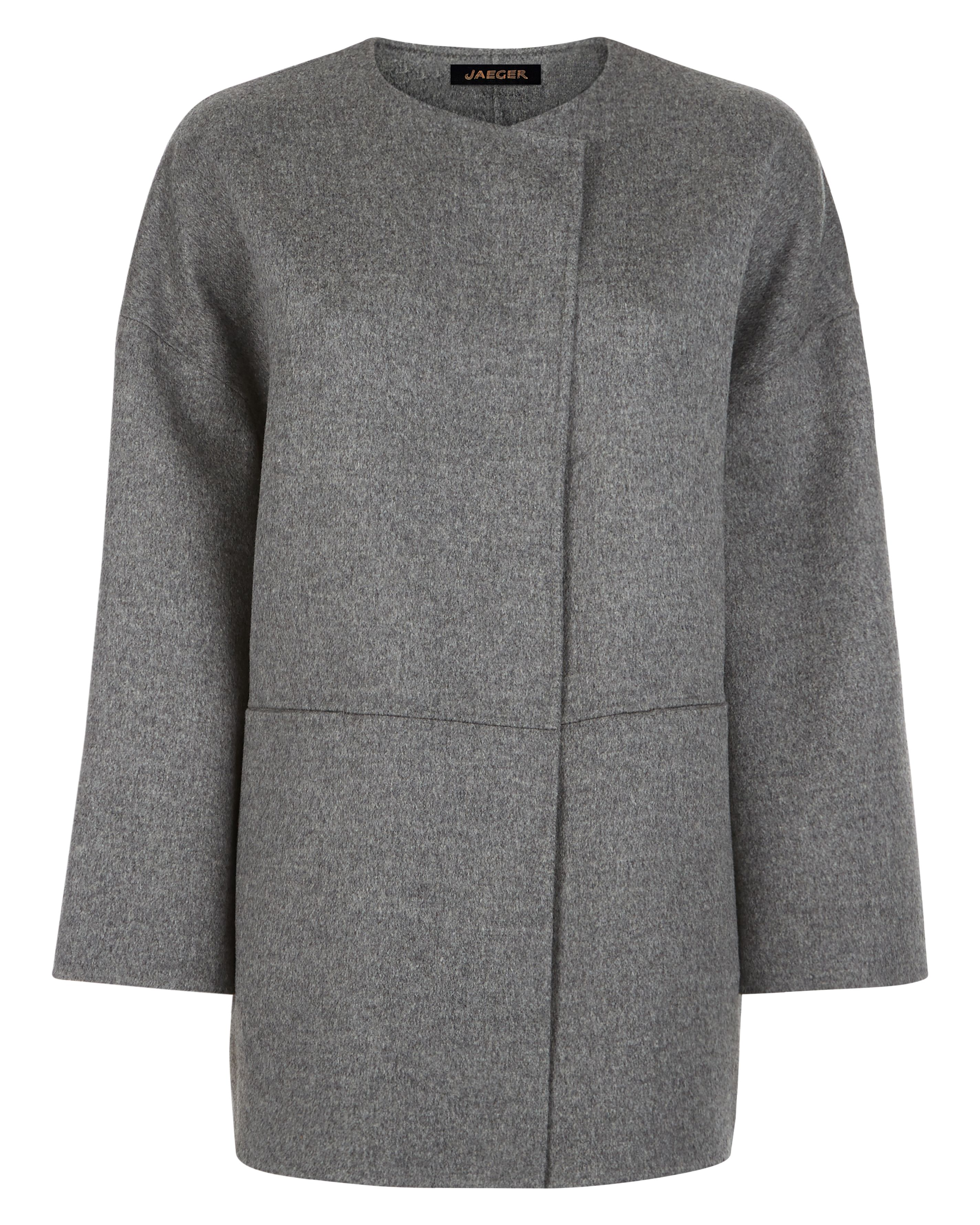 Jaeger Double Faced Wool Cape, Grey