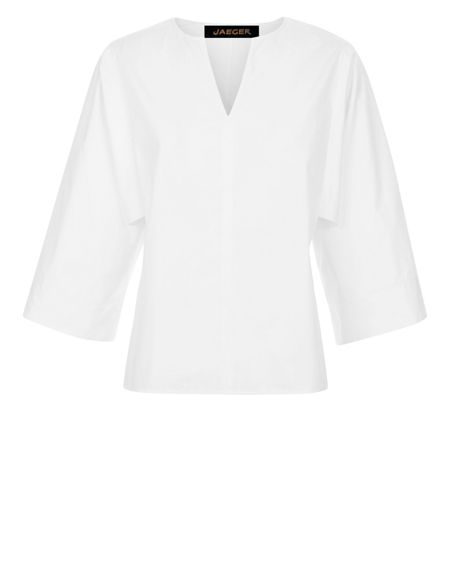 Jaeger Cotton Draped Sleeve Blouse