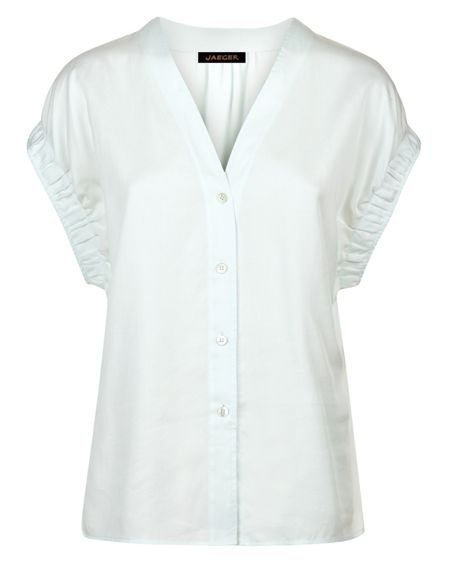 Jaeger Pleated Cuff Detail Blouse
