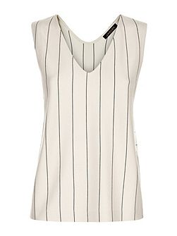 Ponte Fine Stripe Vest Top