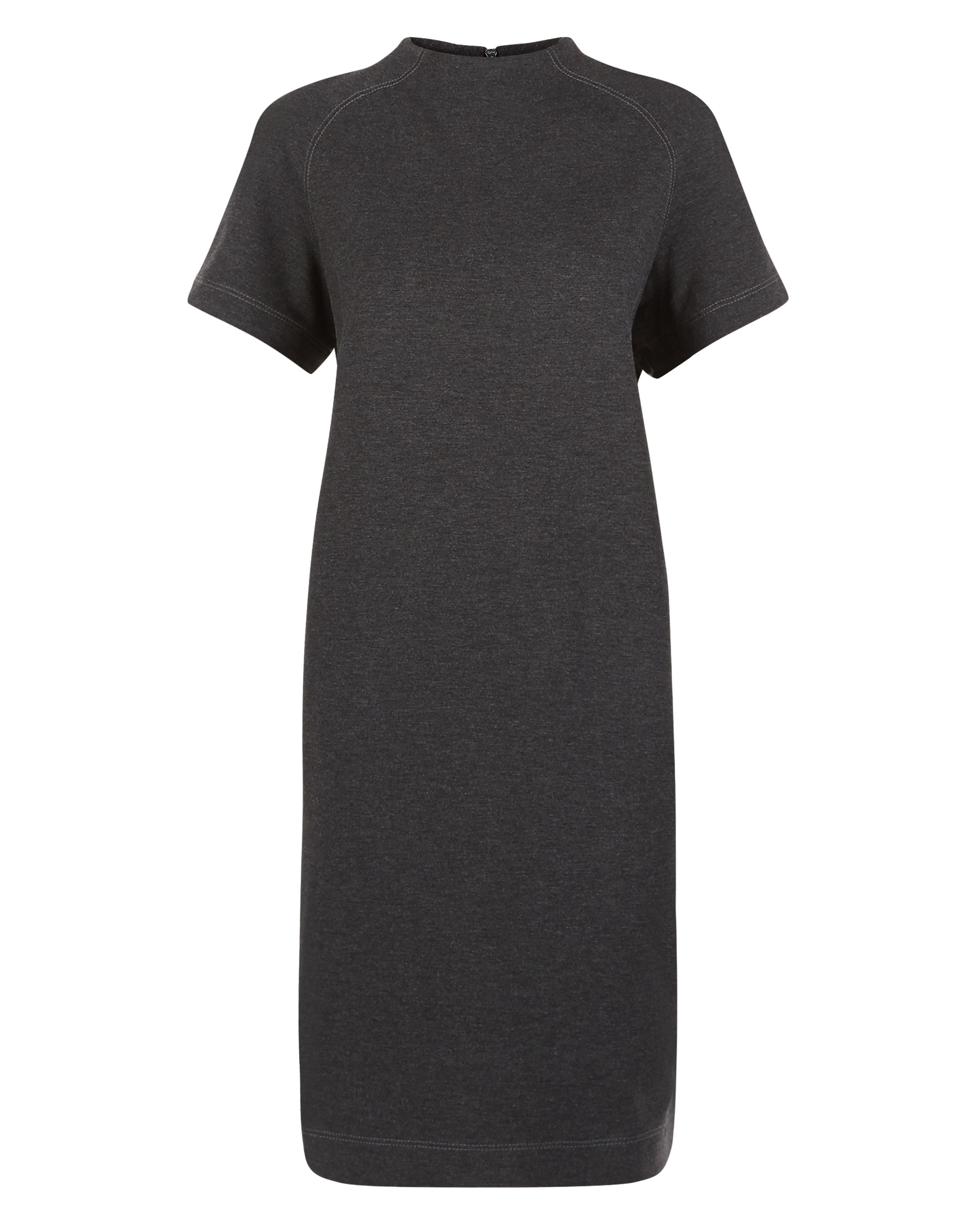 Jaeger Ponte Funnel Neck Dress, Grey
