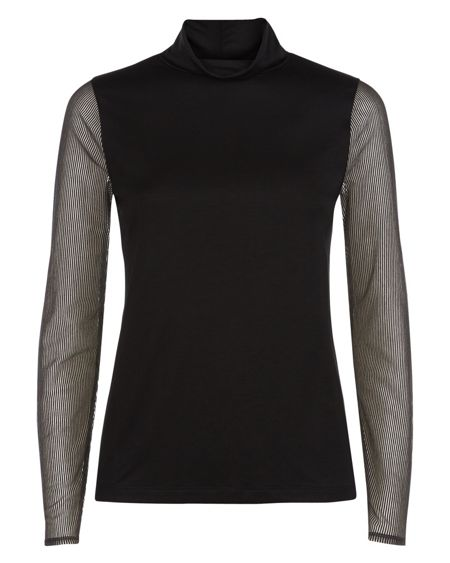 Jaeger Sheer Striped Sleeved Top