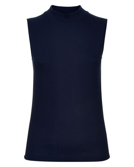 Jaeger Cotton Ribbed Funnel Neck Top