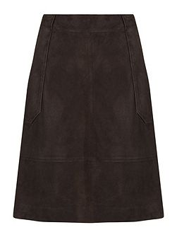 Suede Patch Pocket Skirt