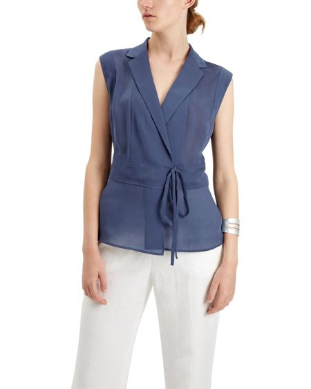 Jaeger Lapel Wrap Blouse