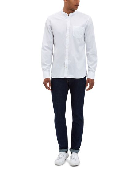 Jaeger Washed Twill Collarless Shirt