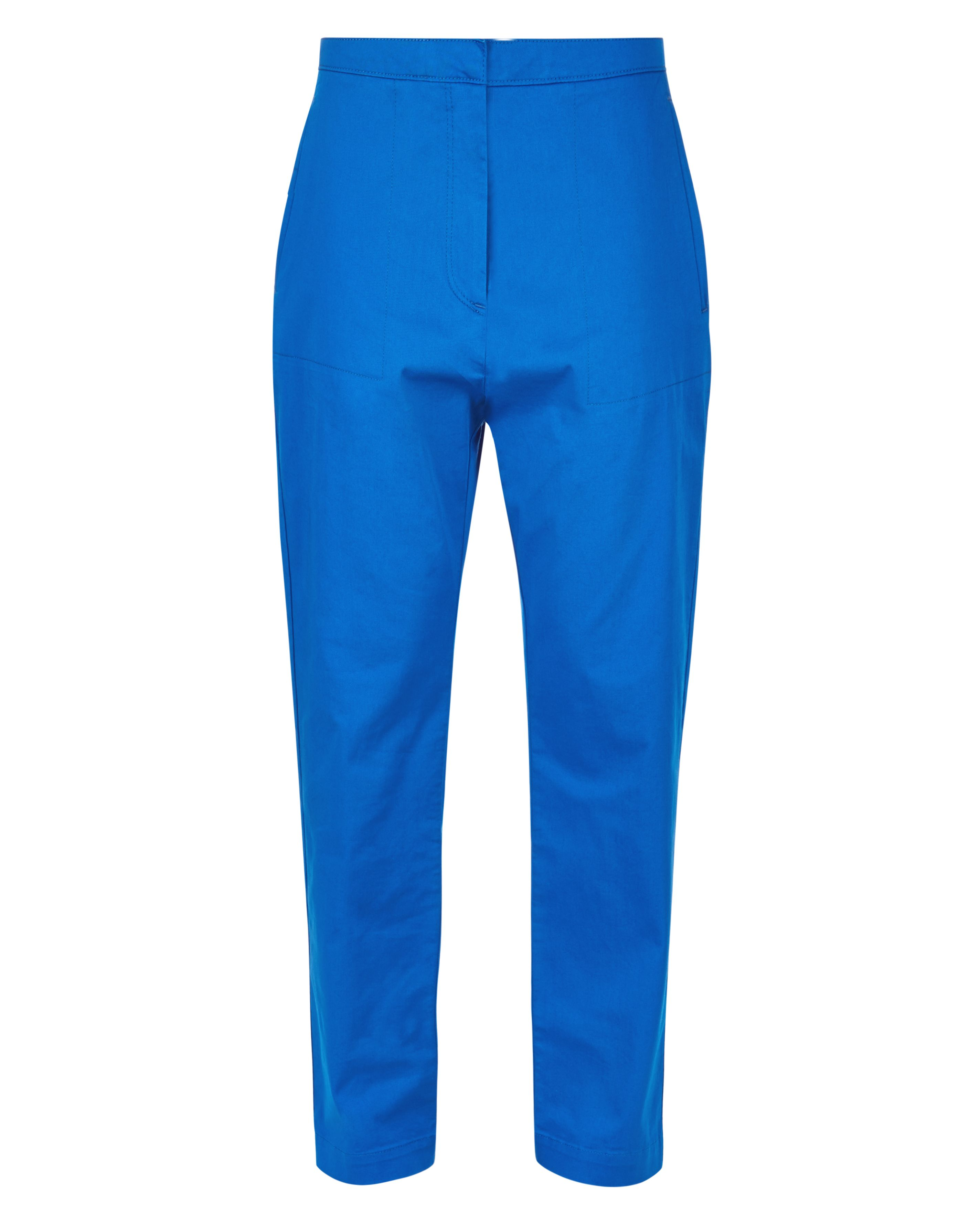 Jaeger Patch Pocket Cropped Trousers, Blue