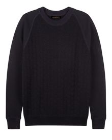 Jaeger Wool Knit Front Sweatshirt