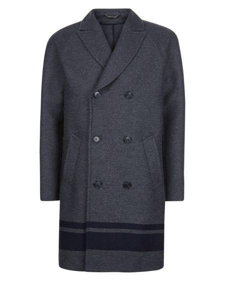Jaeger Engineered Stripe Overcoat