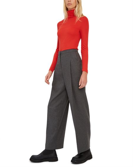 Jaeger Flannel Wide-Leg Trousers