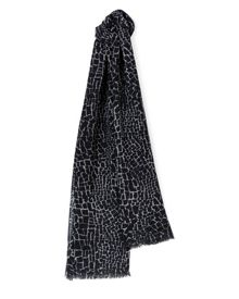 Jaeger Wool Silk Crackle Print Scarf