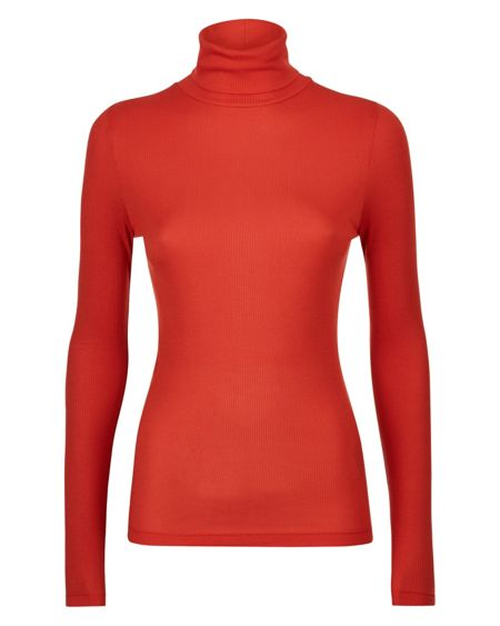 Jaeger Jersey Ribbed Roll Neck Top