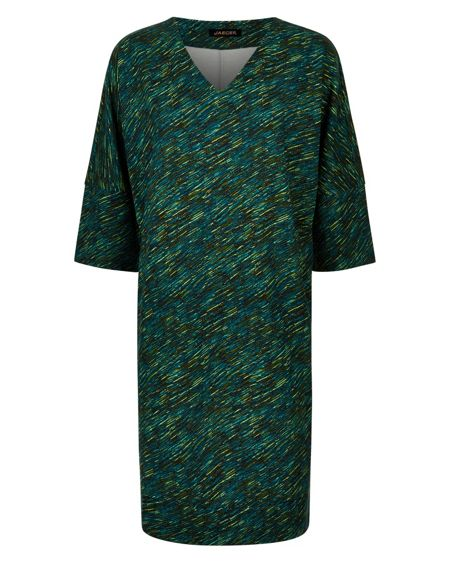Jaeger Diagonal Dash Print Dress