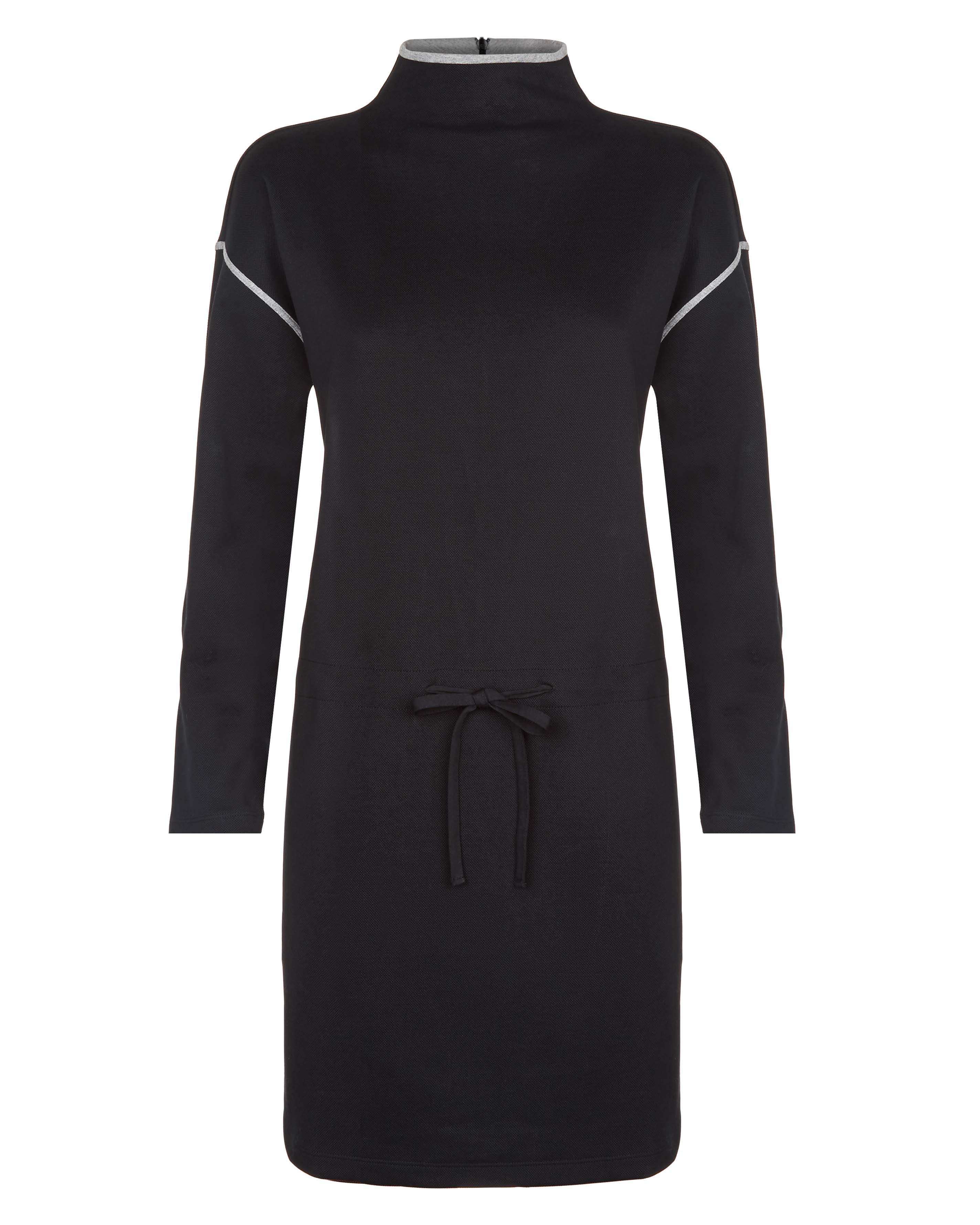 Jaeger Cotton Jersey Polo Neck Dress, Black