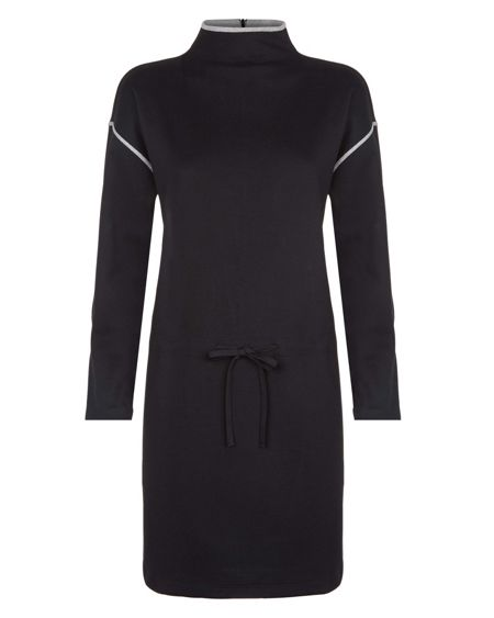 Jaeger Cotton Jersey Polo Neck Dress