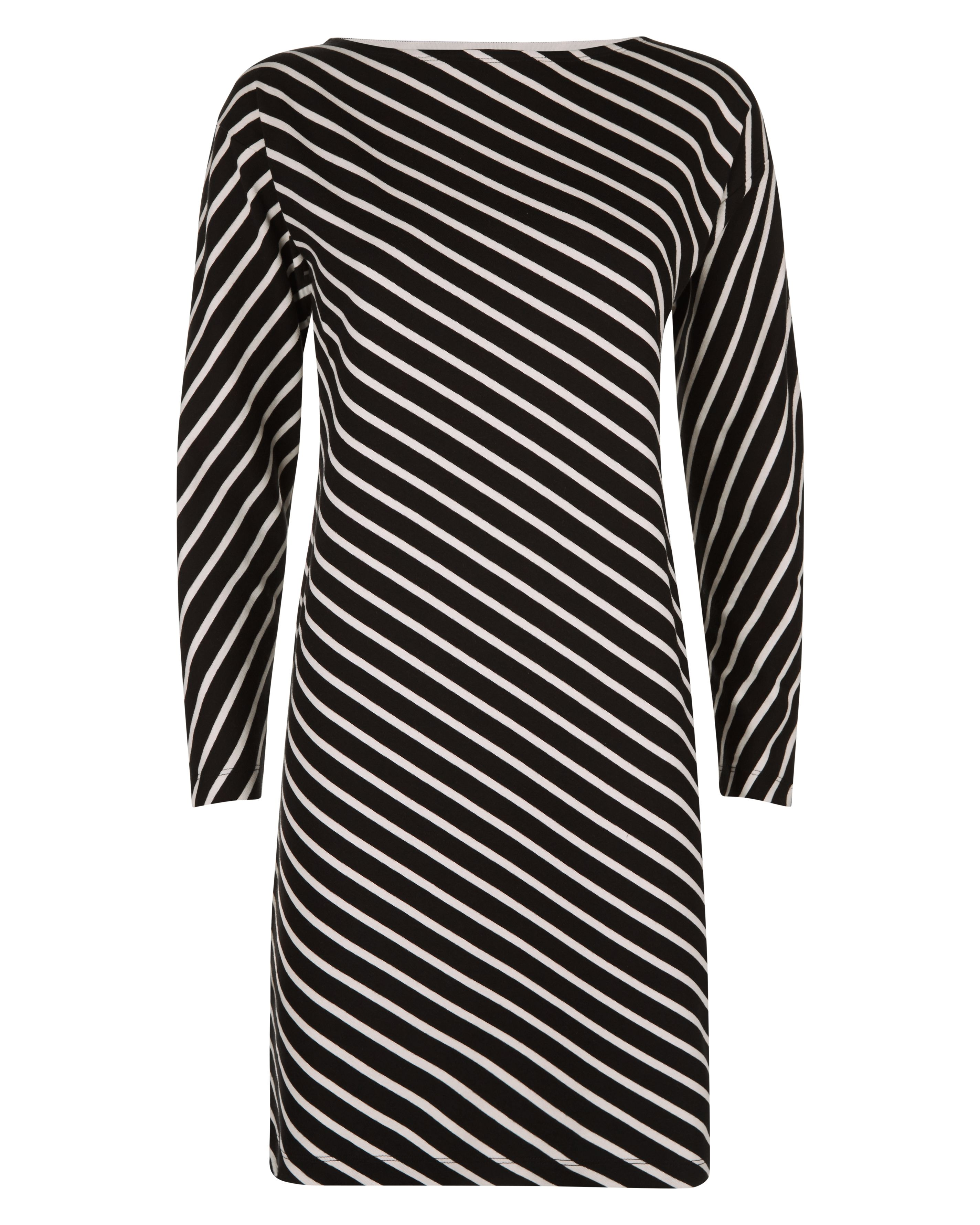 Jaeger Diagonal Breton Stripe Dress, Black