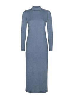 Cotton Melange Roll Neck Dress