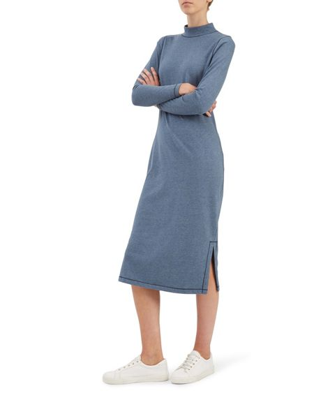 Jaeger Cotton Melange Roll Neck Dress