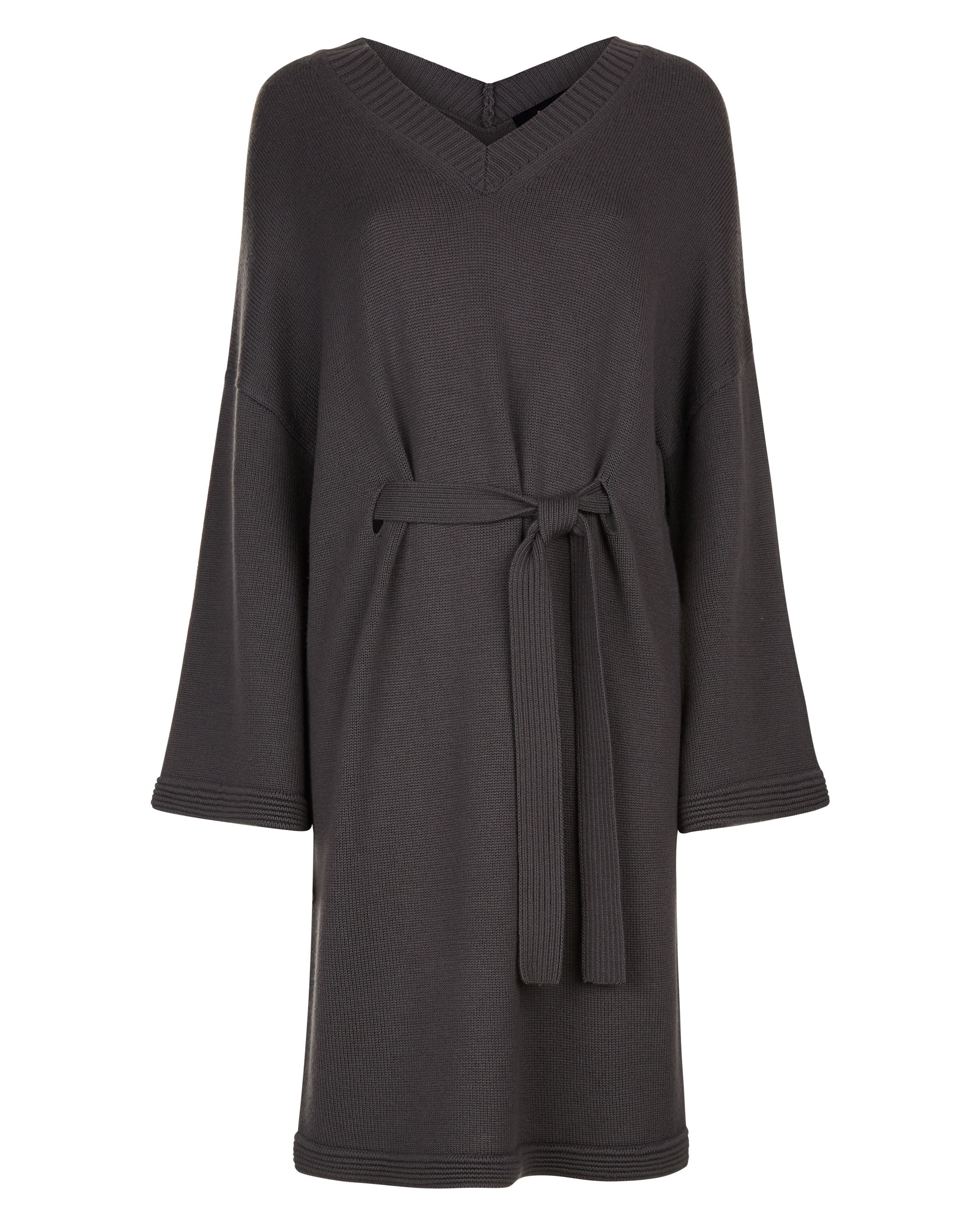 Jaeger Wool V-Neck Slouchy Dress, Grey