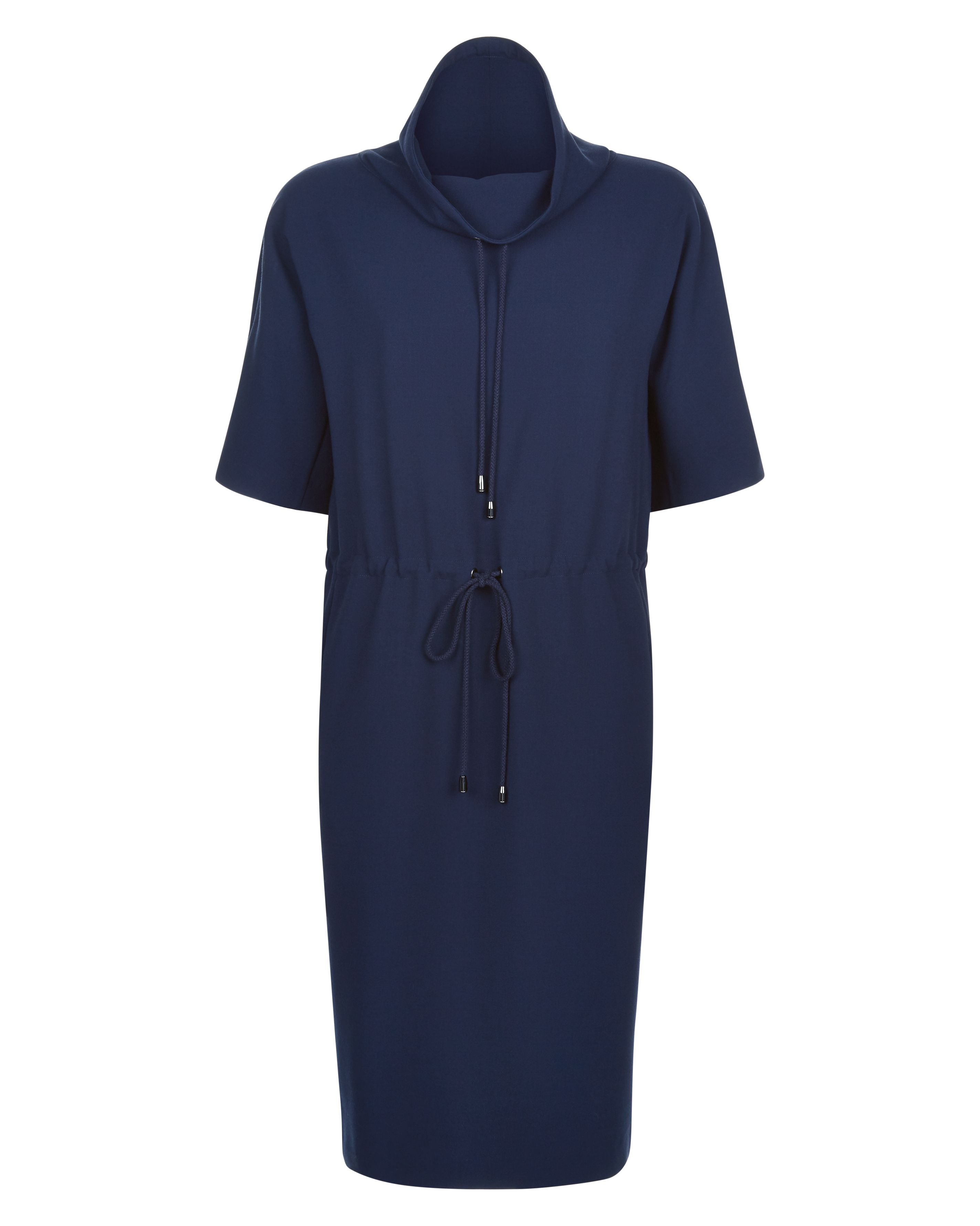 Jaeger Funnel Neck Drawstring Dress, Blue
