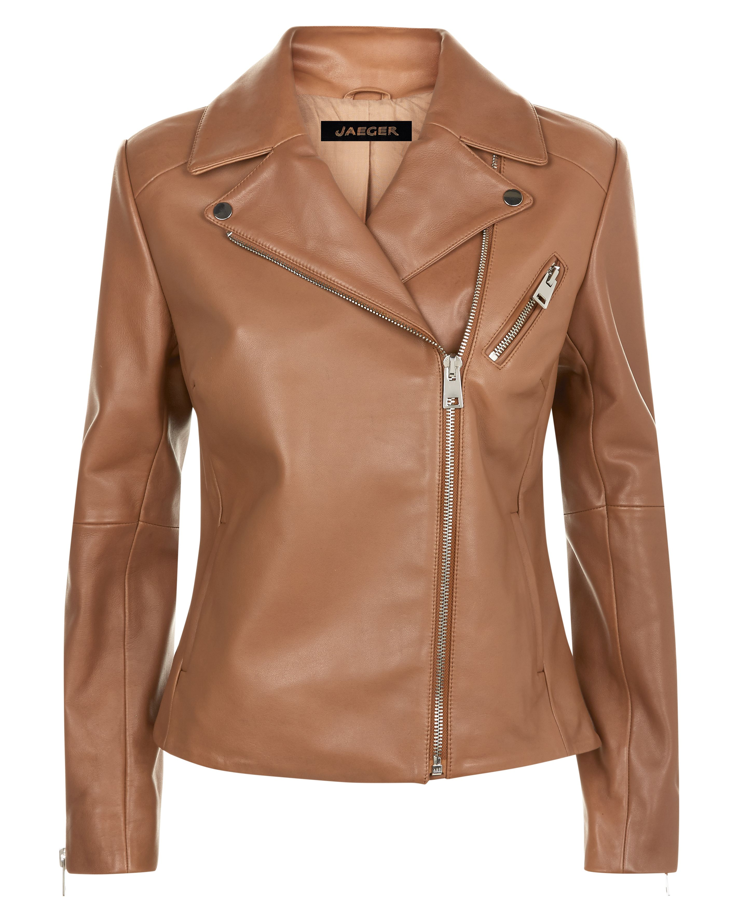 Jaeger Leather Biker Jacket, Camel